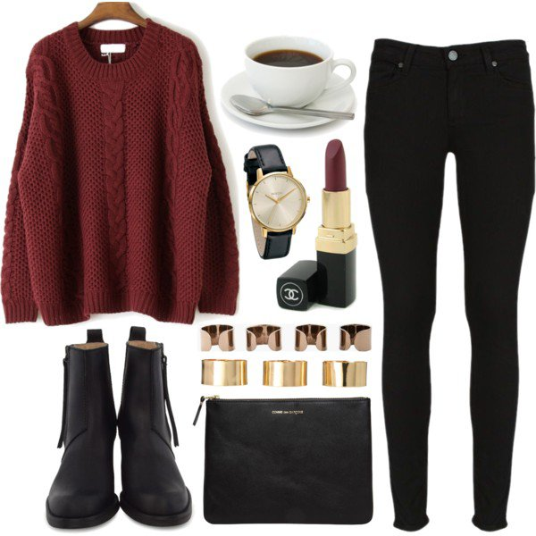 Maroon Sweater with Black Jeans and Boots