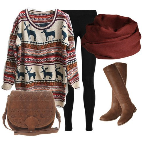 Printed Sweater with Brown Boots