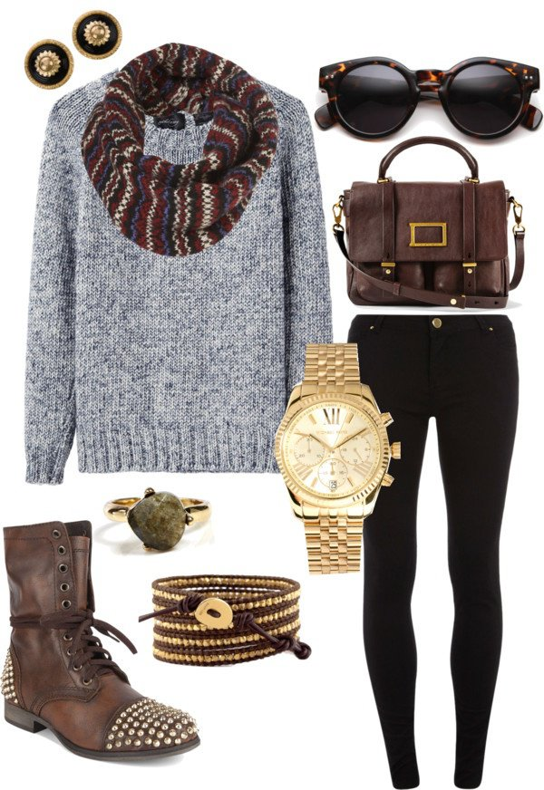 Simple Grey and Black Outfit for Winter