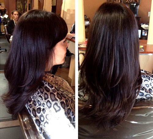 Beautiful Layered Haircut for Chocolate Brown Hair