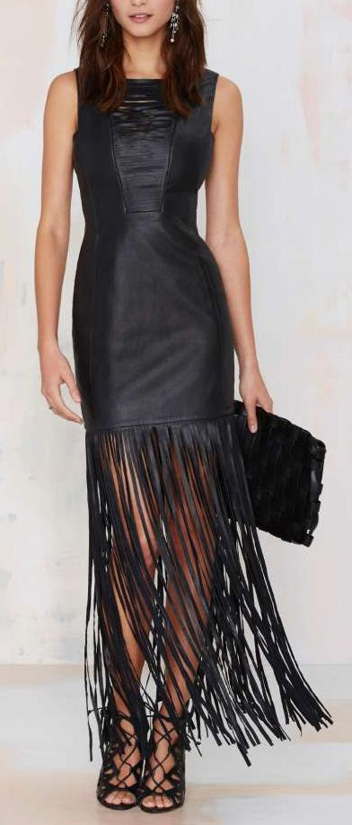 Black Leather Fringe Dress for New Year's Eve