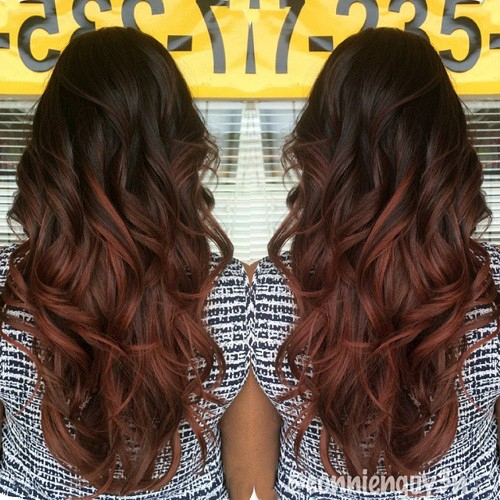 Black to Red Ombre Hair for Curly Hair