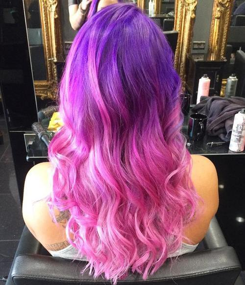 Bright Purple to Pink Ombre Hairstyle