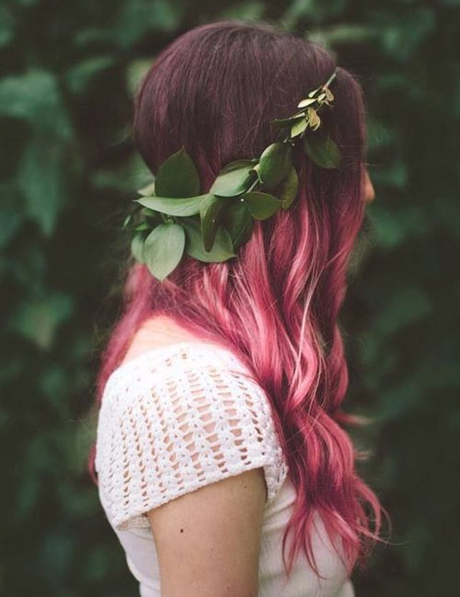 Brunette to Pink Ombre Hair Look