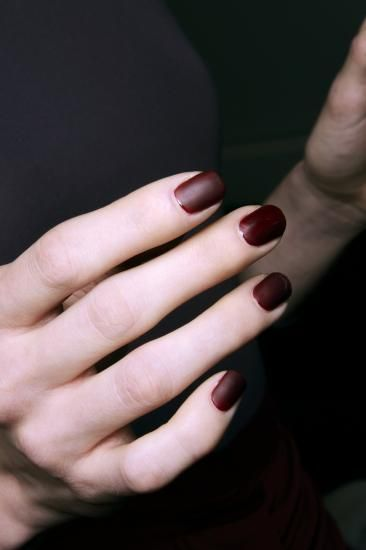 Burgundy Short Nail Design