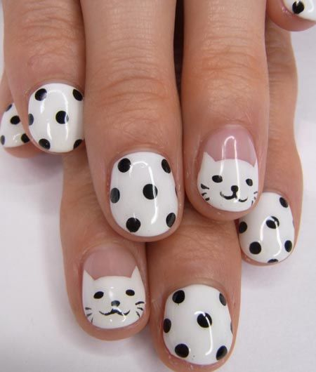 Cats and Dots Nail Design for Short Nails
