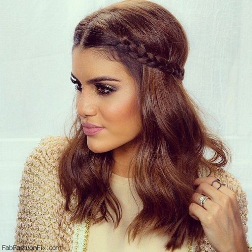 Chic Braided Half Updo Hairstyle for Wavy Hair