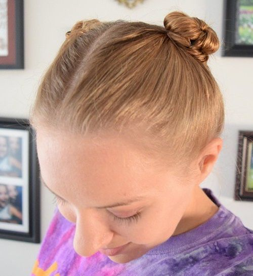 Cute Pigtail Bun for Workout