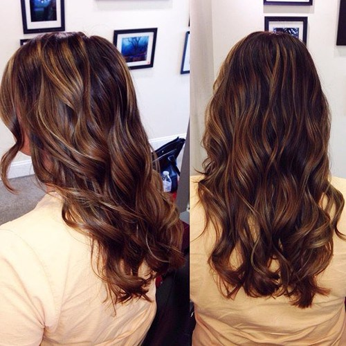 Fabulous Chocolate Long Curls with Camel Highlights