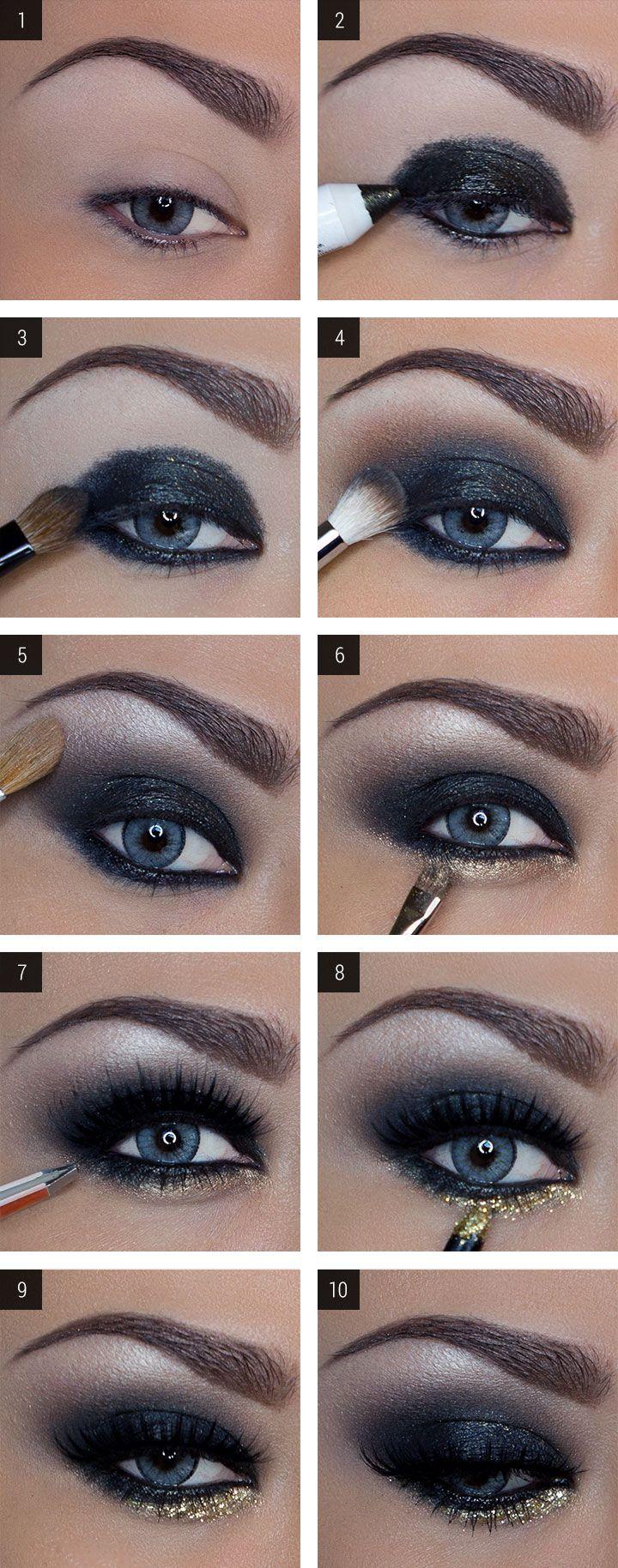 Faddish Glitter Somky Eye Makeup Tutorial for New Year's Eve