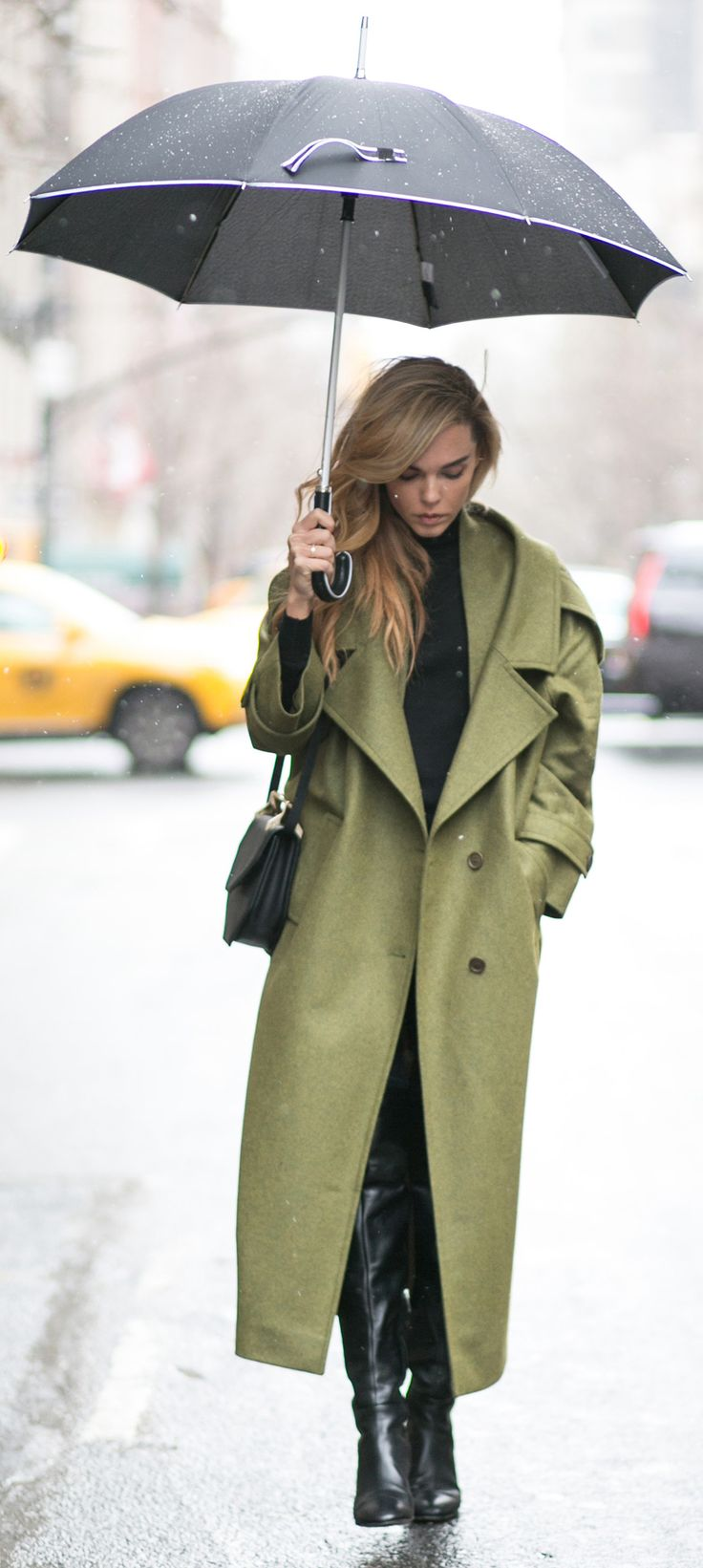 Faddish Long Coat with Over-Knee Boots