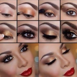 Golden Eye Makeup Idea with Red Lips for New Year's Eve
