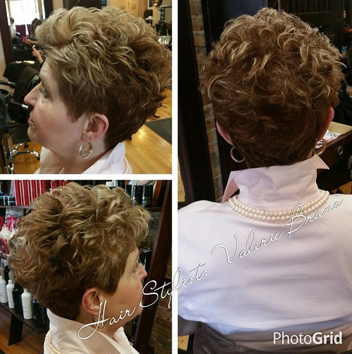 Highlighted Voluminous Curls for Mature Women