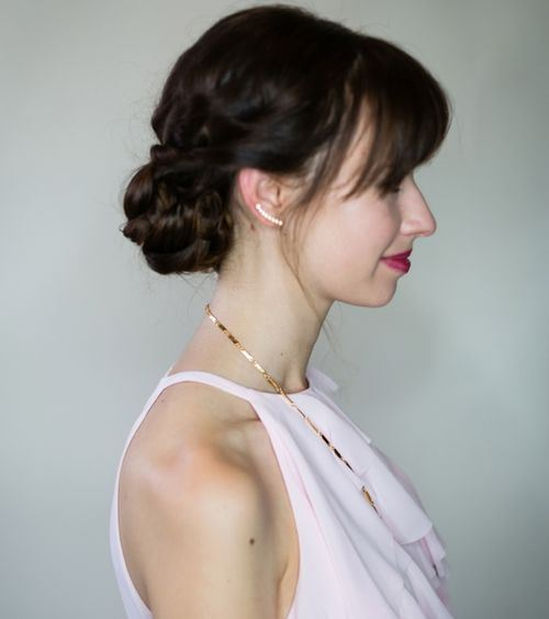Lovely Braided Updo with Bangs