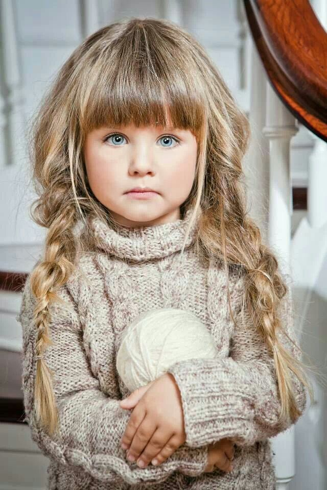 Lovely Dual Braids with Thick Bangs for Kids