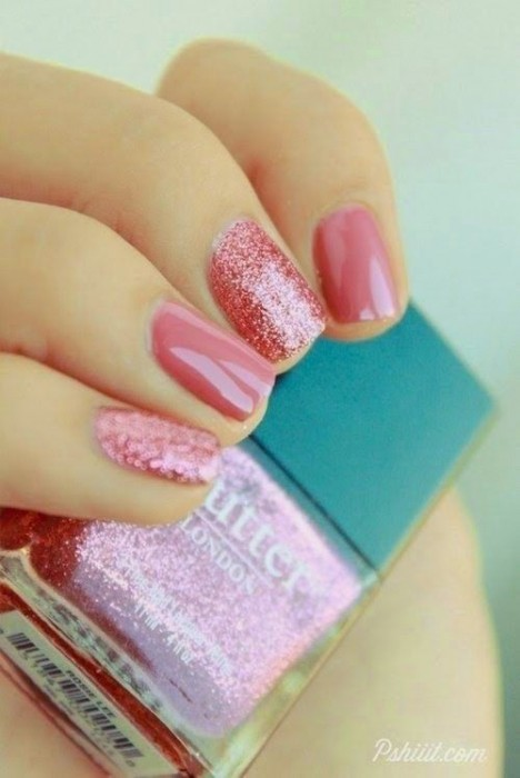 Lovely Pink Nail Design for Short Nails