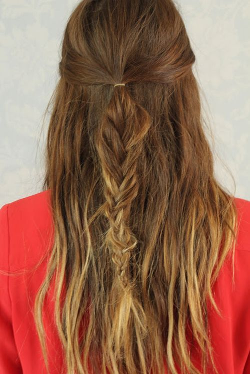 Messy Half Updo Hairstyle with Fishtail Braid