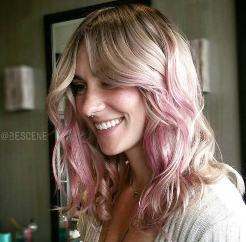 Ombre Pink Hairstyle for Blonde Hair