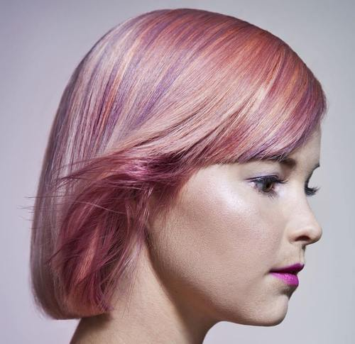 Pink Hairstyle with Lavender Highlights