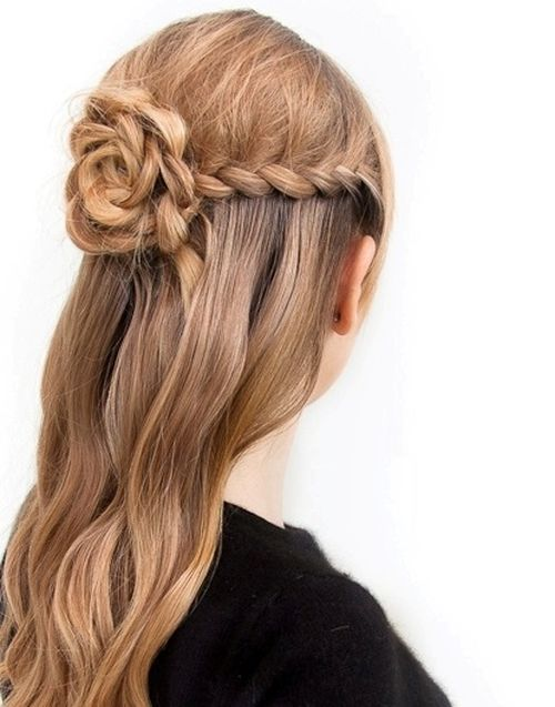 Pretty Braided Flower Half Updo Hairstyle