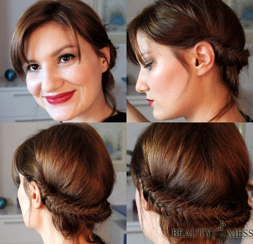 Pretty Fishtail Braided Updo Hairstyle