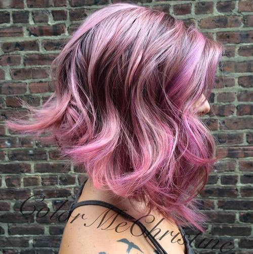 Pretty Pink and Purple Wavy Hairstyle