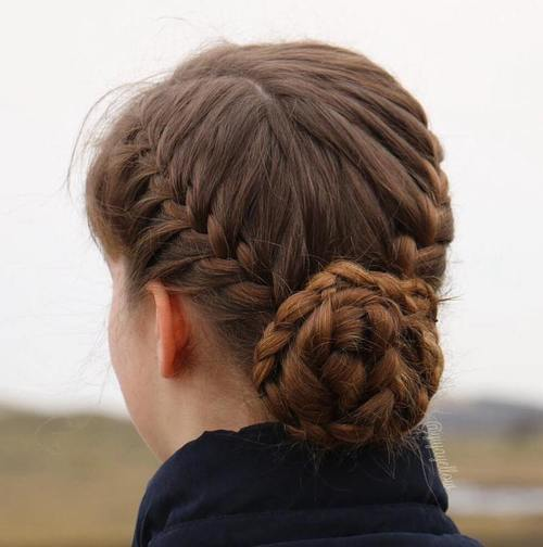 Pretty Workout Hairstyle with Braided Updo