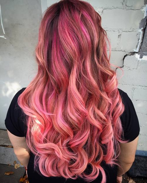 Reddish Brown Hair with Pink Highlights