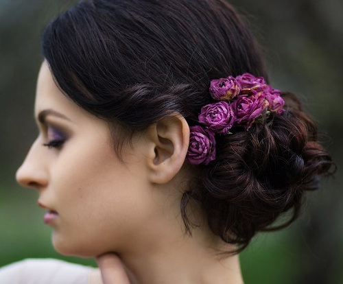 Romantic Curly Updo Hairstyle with Accessories