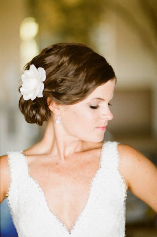 Romantic Side Chignon with A Flower