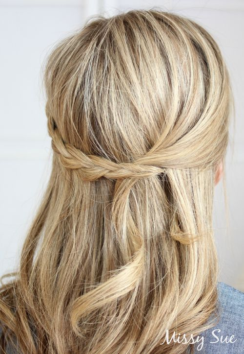 Simple Braided Half Updo Hairstyle
