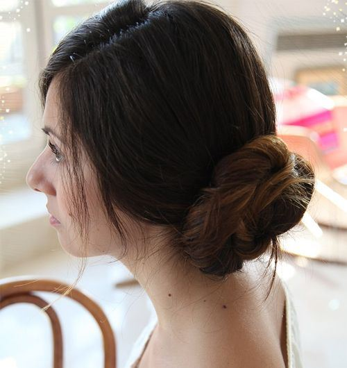 Simple Side Chignon for Mid-Length Hair
