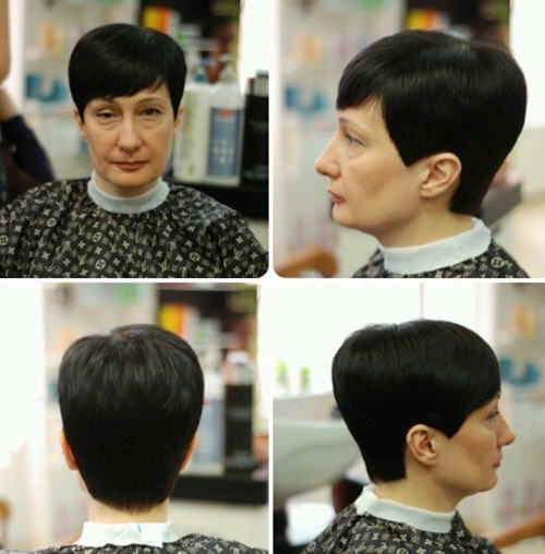Sleek Short Haircut for Older Women