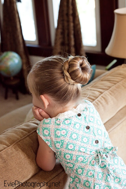 Sleek Sock Bun with Braid for Little Girls