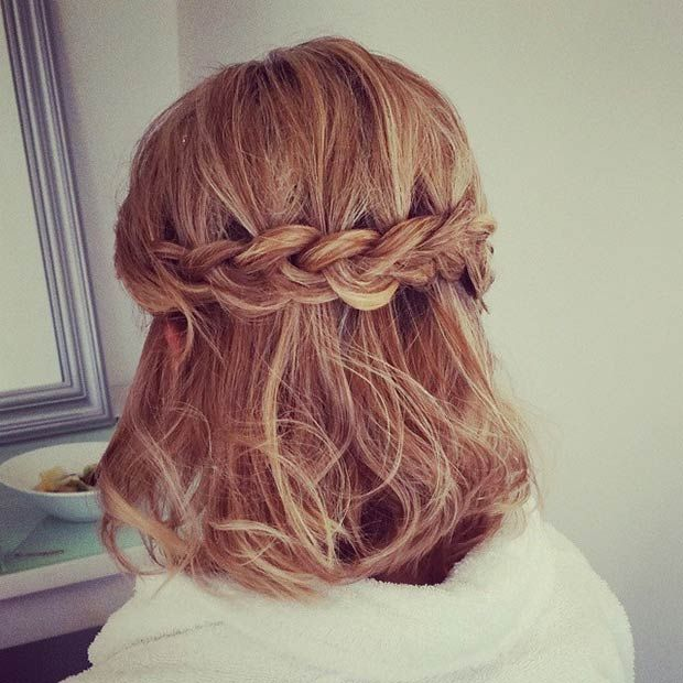 Stunning Half Braided Hairstyle for Short Hair
