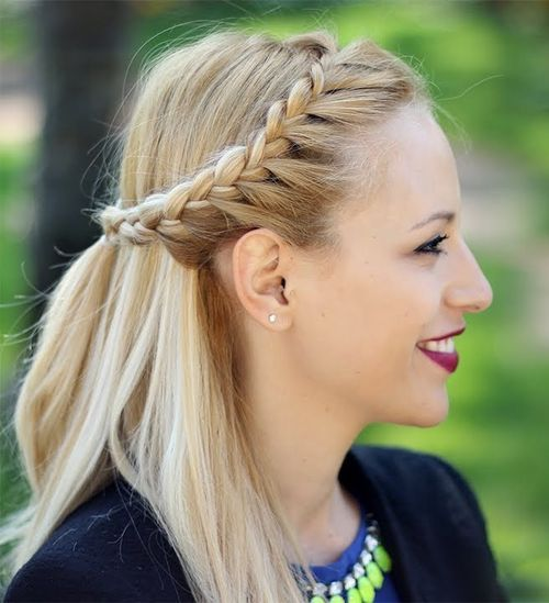 Stylish Braided Half Updo Hairstyle