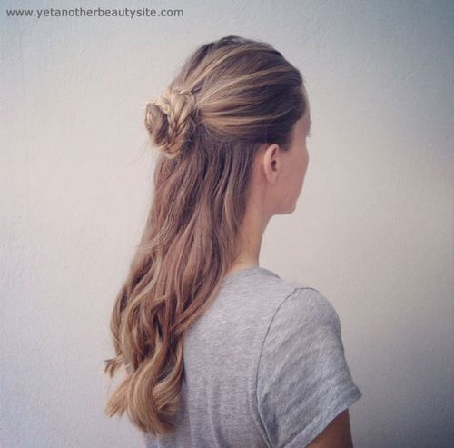 Stylish Half Updo with A Braided Bun for Thick Hair
