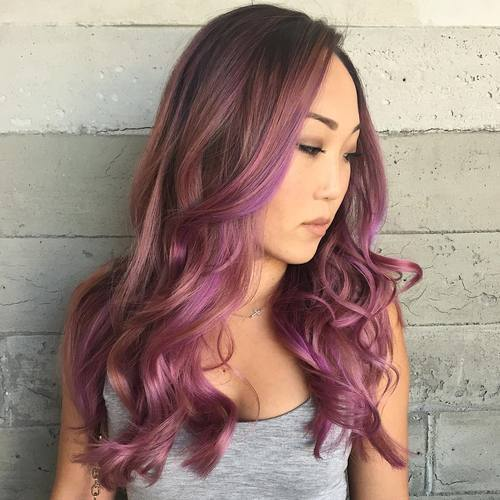 Stylish Violet Highlighted Pink Hair