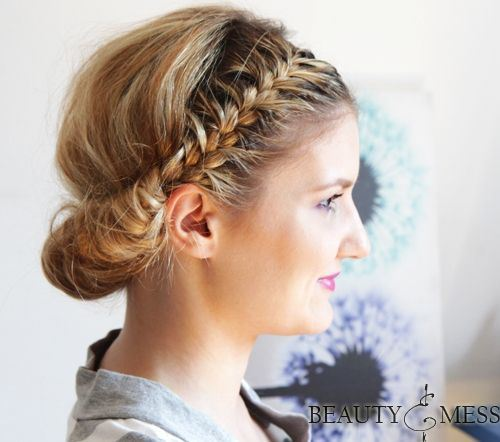 Sweet Updo Hairstyle with Double Braids