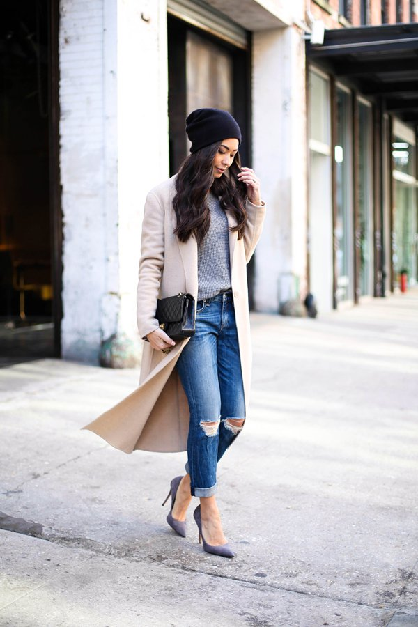 Ripped Jeans with Long Coat for Women