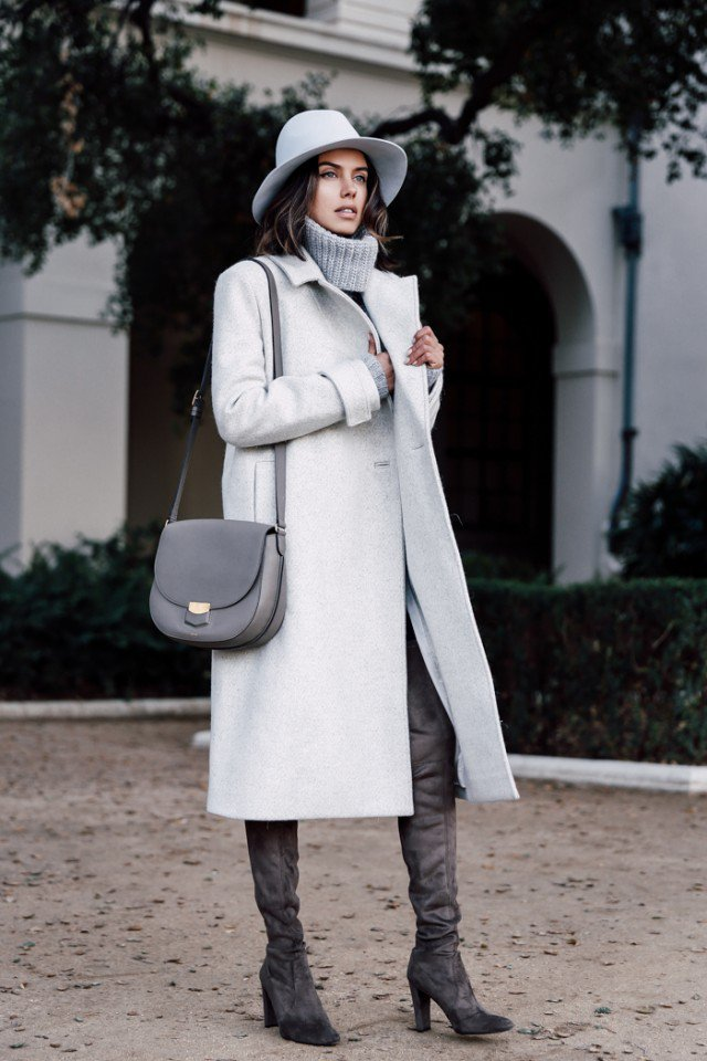 White Long Coat Outfit Idea