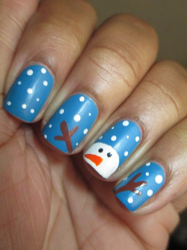 21 fabulous and easy christmas nail designs styles weekly cute snowman nail design nail prinsesfo Images