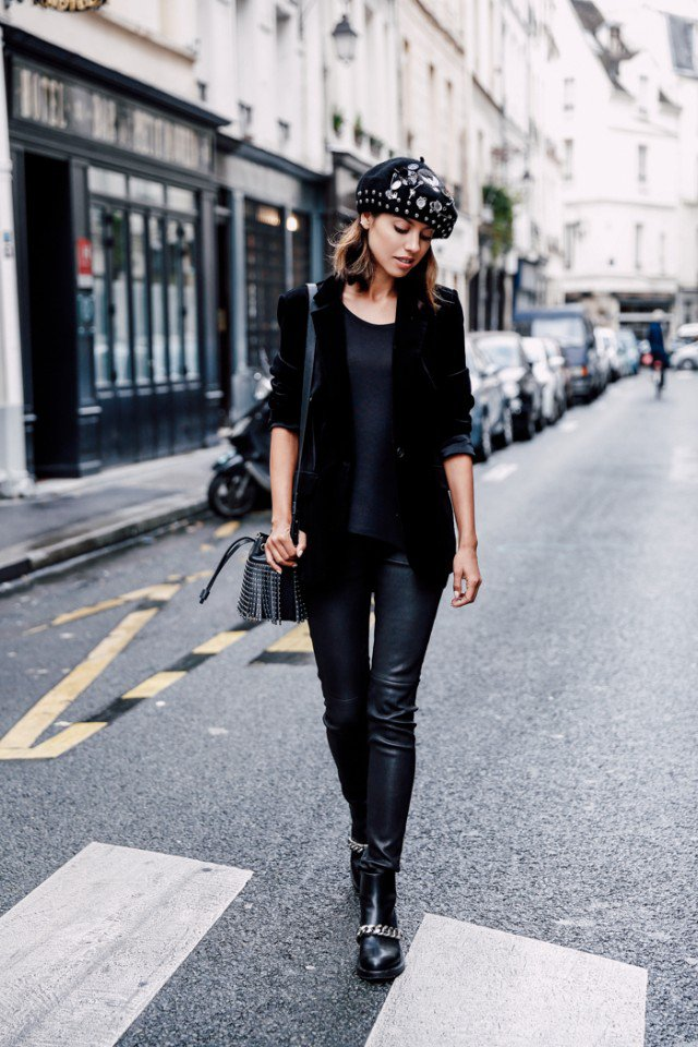 Chic All Black Outfit with Velvet Blazer