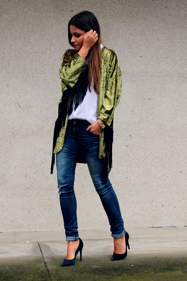Edgy Bright-Colored Velvet Cardigan with Jeans