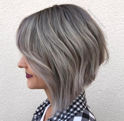 Silver Balayage Layered Inverted Bob 2018