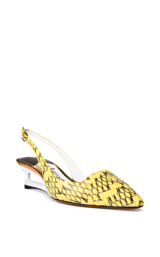 photo of kitten heel show in yellow snakeskin