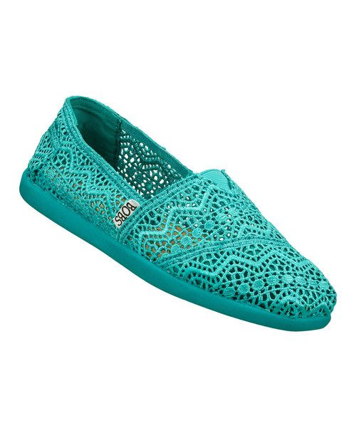 teal colored crochet slip on shoe