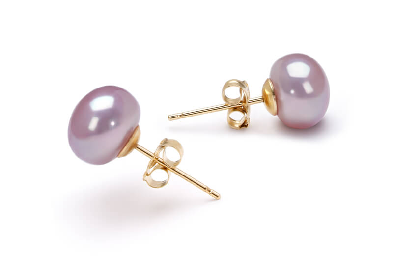 lilac pearl studded earrings