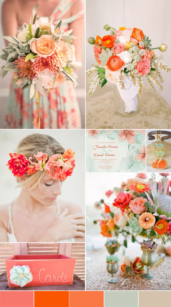 color pallete for weddings 2016