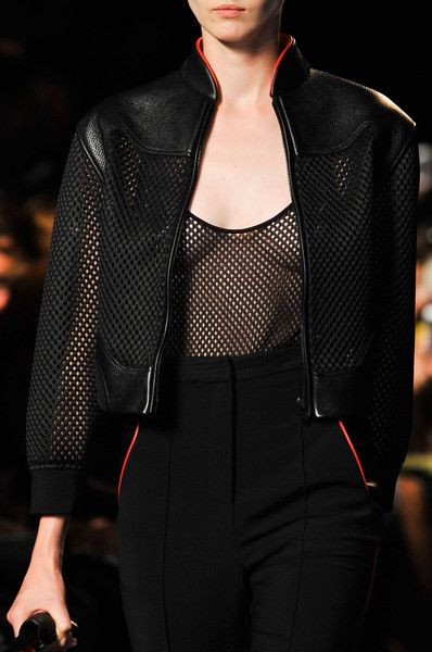 leather jacket with fishnet details